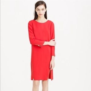 J Crew Red Shift Dress Size 6 B4804 Double Zipper